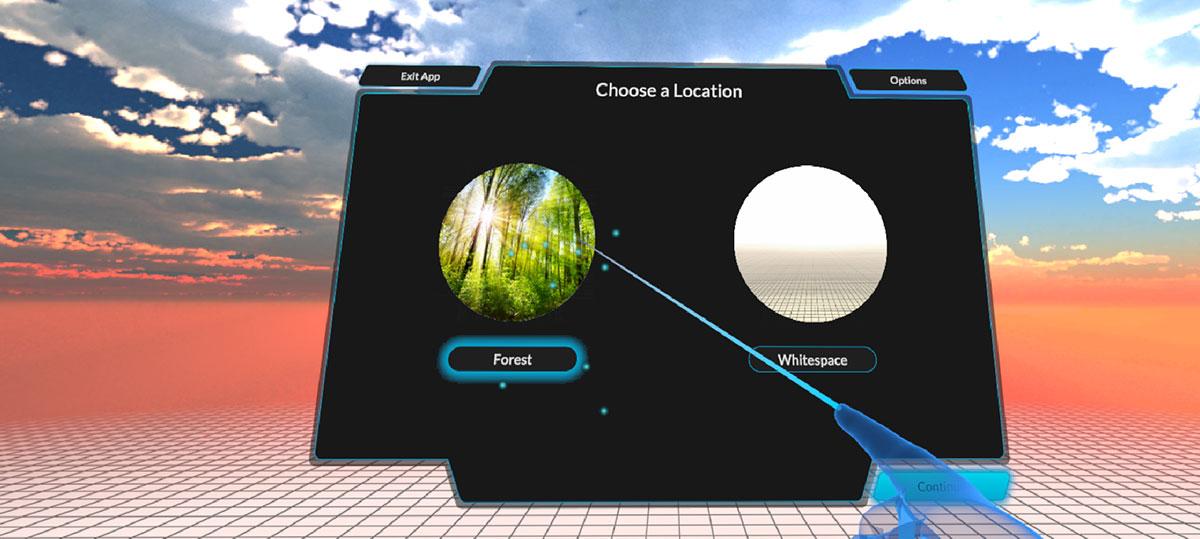 virtual reality app menu